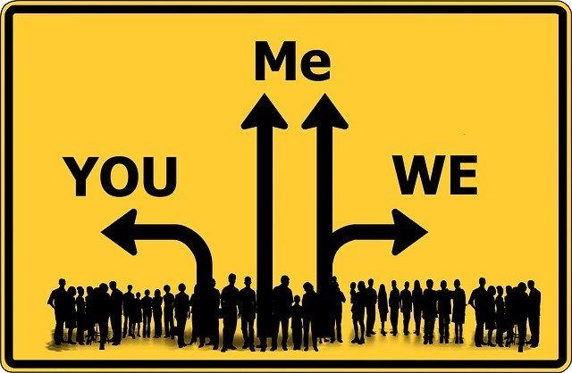 Schild: Du, Ich, Wir - Entscheidung für ein bewusstes Miteinander